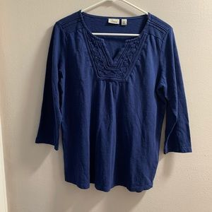 L.L Bean Blue Embroidered V Neck 3/4 Sleeves Shirt